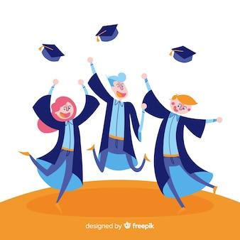 Szczęśliwy tło ukończenia szkoły