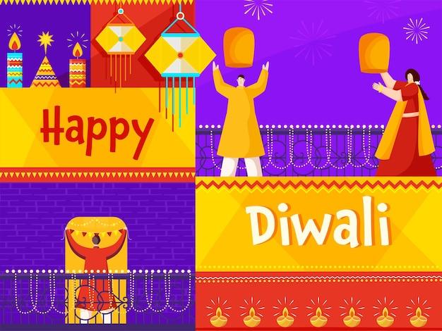 Szczęśliwy tło uroczystości diwali ozdobione zapalonymi świecami, lampionami i indianami. ilustracja wektorowa.