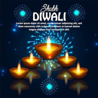 Szczęśliwy tło uroczystości indyjskiego festiwalu diwali z ilustracją