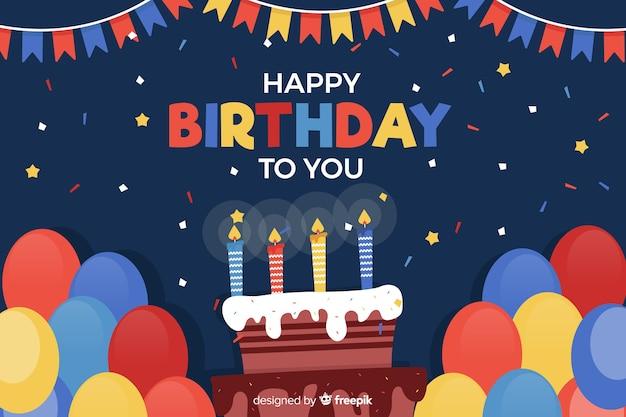 Szczęśliwy Tło Urodziny W Stylu Płaski Premium Wektorów
