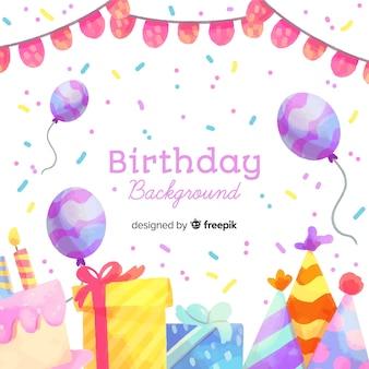 Szczęśliwy tło urodziny w stylu przypominającym akwarele