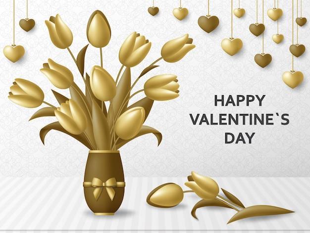 Szczęśliwy tło valentine day z bukietem tulipanów