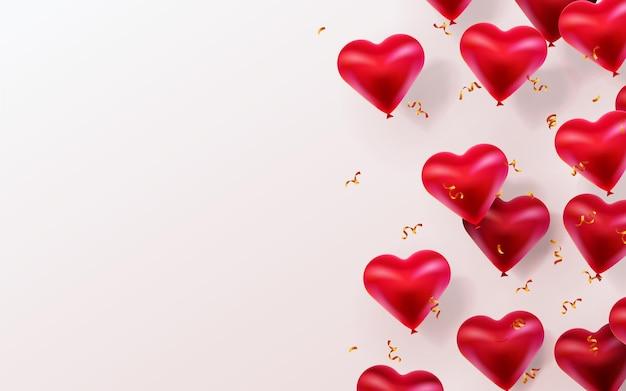 Szczęśliwy tło walentynki z latające balony błyszczące serca