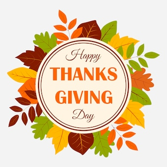 Szczęśliwy transparent dziękczynienia z jesiennych liści.