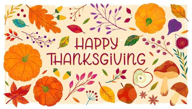 Szczęśliwy transparent dzień dziękczynienia z dyniami, grzybami, gałęziami drzew, jabłkami, figami, roślinami, liśćmi, jagodami i kwiatowymi elementami.