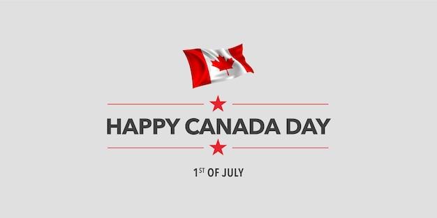 Szczęśliwy transparent dzień kanady. kanadyjskie święto 1 lipca projekt z machającą flagą jako symbolem niepodległości