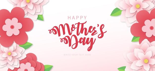 Szczęśliwy transparent dzień matki z papercut wiosenne kwiaty w tle
