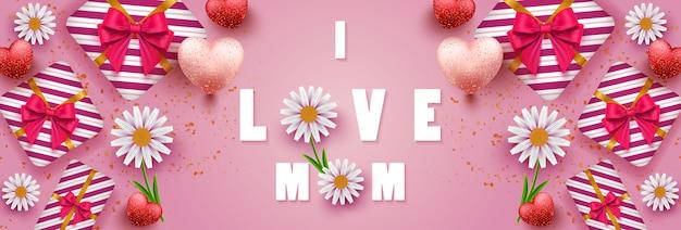 Szczęśliwy transparent dzień matki z pięknymi kwiatami, realistycznym kształtem serca i pudełkiem prezentowym