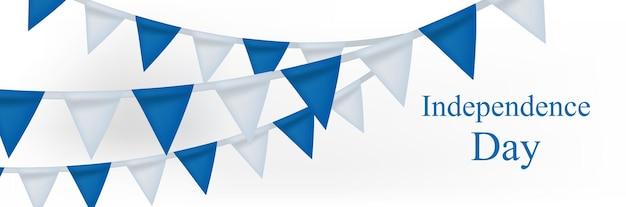 Szczęśliwy transparent dzień niepodległości izraela z realistycznymi flagami trznadel