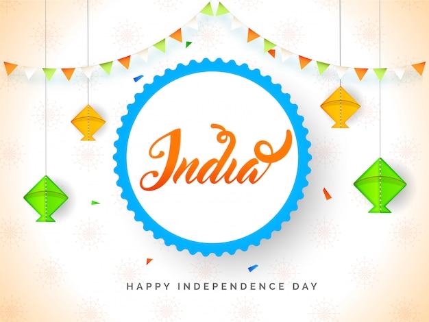 Szczęśliwy transparent dzień niepodległości z wiszącym latawcem