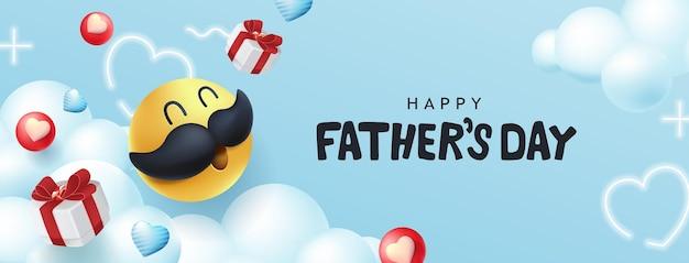 Szczęśliwy transparent dzień ojców z buźką wąsy