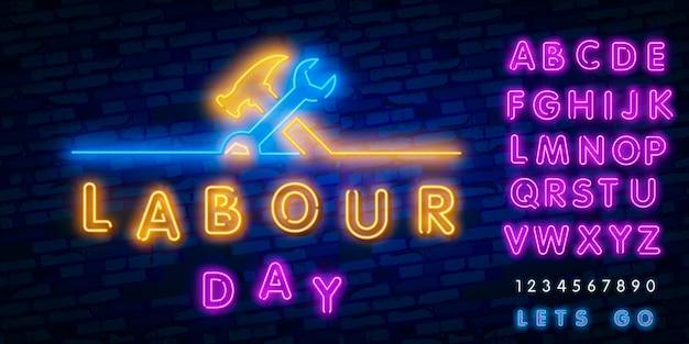 Szczęśliwy transparent dzień pracy, logo, godło i etykiety.