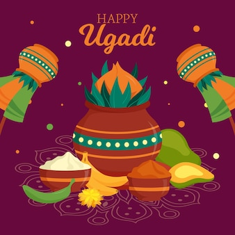 Szczęśliwy transparent festiwalu ugadi