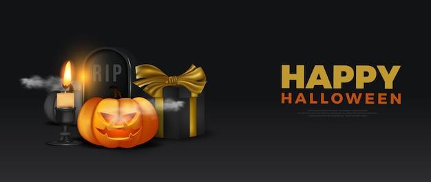 Szczęśliwy transparent sceny nocy halloween