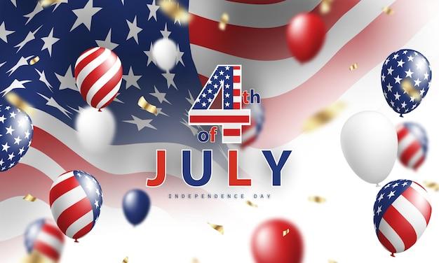 Szczęśliwy transparent wakacje 4 lipca. tło obchodów dnia niepodległości usa.