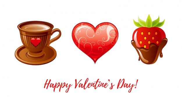 Szczęśliwy transparent walentynki. kreskówka ładny kubek kawy, serce, truskawka zanurzone w czekoladzie.