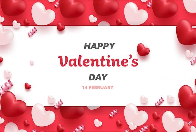 Szczęśliwy transparent walentynki z czerwonymi i różowymi luksusowymi sercami i uroczymi elementami.