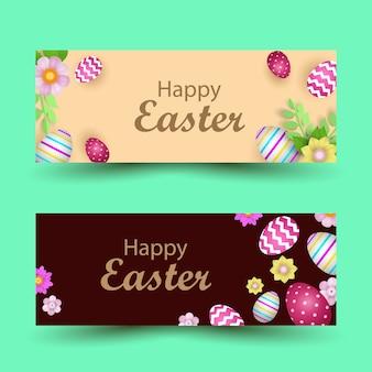 Szczęśliwy transparent wielkanocny. piękne malowane jajka