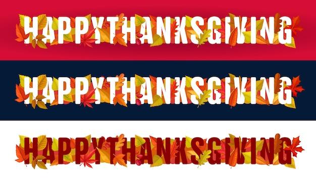 Szczęśliwy typografia dziękczynienia z jesiennych liści na czerwonym, czarnym lub białym tle. dzięki dając dzień stopka lub nagłówek strony z ustawionymi poziomymi banerami liści klonu, dębu, brzozy lub jarzębiny