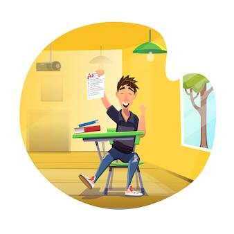 Szczęśliwy uczeń pokazuje doskonałą wynik testu kreskówkę