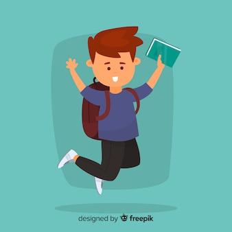 Szczęśliwy uczeń skacze z płaskim projektem