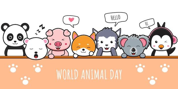 Szczęśliwy uroczystość zwierząt światowy dzień zwierząt transparent ikona ilustracja kreskówka projekt na białym tle płaski styl kreskówki