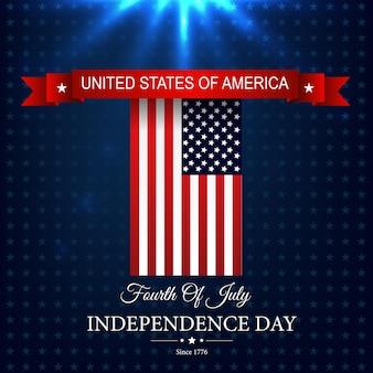 Szczęśliwy usa dzień niepodległości z amerykańską flagą