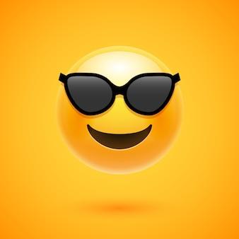 Szczęśliwy uśmiech emoji w okularach przeciwsłonecznych. y
