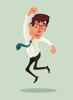 Szczęśliwy uśmiechający się biznesmen pracownik biurowy maskotka charakter skok