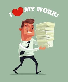 Szczęśliwy uśmiechający się biznesmen urzędnik maskotka charakter trzyma dużo dokumentów raportu