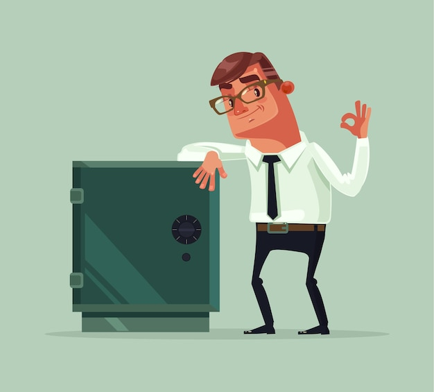 Szczęśliwy uśmiechający się bogaty pracownik biurowy biznesmen charakter stanąć w pobliżu sejfu. ilustracja kreskówka płaska