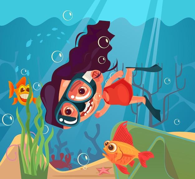 Szczęśliwy uśmiechający się dziewczyna charakter nurkowanie. ilustracja kreskówka płaska