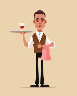 Szczęśliwy uśmiechający się kelner mężczyzna chłopiec postać trzyma tacę z ilustracji szkła czerwonego wina