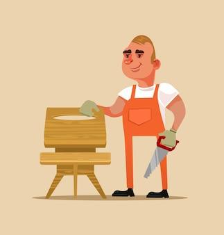 Szczęśliwy uśmiechający się konstruktor mebli robotnik człowiek charakter robi drewnianym stole. ręcznie wykonane koncepcja ilustracja kreskówka projekt płaski kreskówka na białym tle
