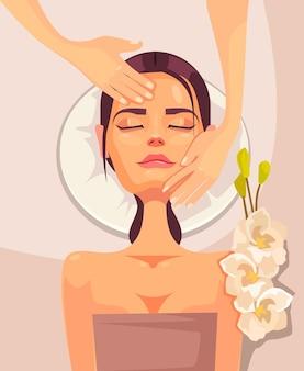 Szczęśliwy uśmiechający się młoda kobieta postać o masaż spa przeciw starzeniu