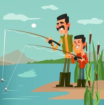 Szczęśliwy uśmiechający się ojciec rybak tata i syn znaków wędkarskich.