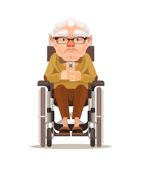 Szczęśliwy uśmiechający się postać staruszka siedzi na wózku inwalidzkim. kreskówka