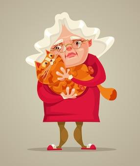 Szczęśliwy uśmiechający się staruszka postać trzymać kota