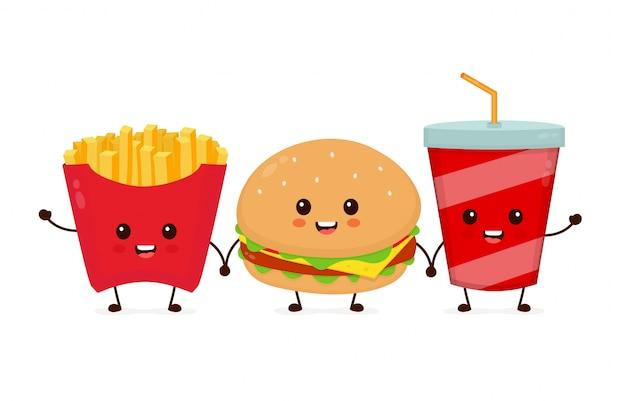Szczęśliwy uśmiechający się zabawny ładny burger, napoje gazowane i frytki przyjaciół.