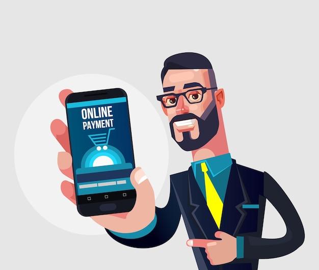 Szczęśliwy uśmiechający się znak człowieka menedżera przedstawiający inteligentny telefon z płatnością online