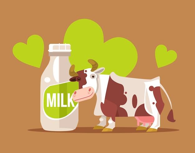 Szczęśliwy uśmiechający się znak krowy z butelką mleka. ilustracja kreskówka płaska