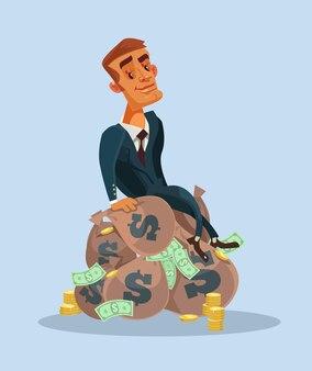 Szczęśliwy uśmiechający się znak pracownik biurowy biznesmen siedzi na workach pieniędzy