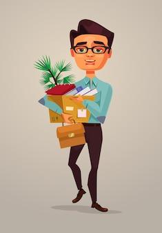 Szczęśliwy uśmiechający się znak pracownik biurowy mężczyzna idzie do nowej pracy, ilustracja kreskówka płaskie