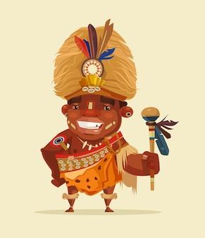 Szczęśliwy uśmiechnięty afrykański przywódca. ilustracja kreskówka