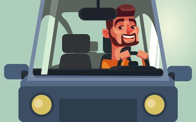 Szczęśliwy uśmiechnięty człowiek charakter jazdy samochodem.