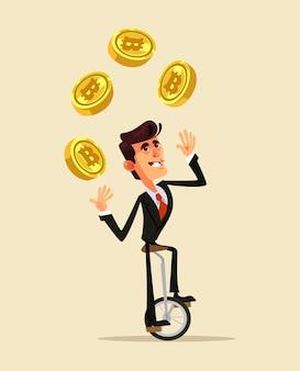 Szczęśliwy uśmiechnięty człowiek charakter trzymać bitcoin. ilustracja kreskówka płaska