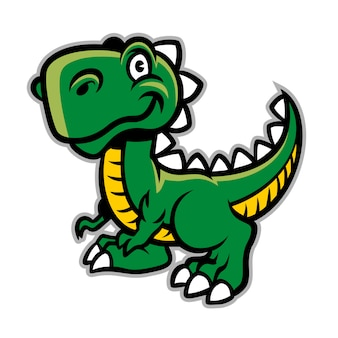 Szczęśliwy uśmiechnięty kreskówka dinosaura charakter