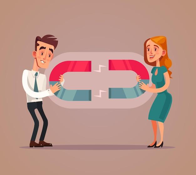 Szczęśliwy uśmiechnięty mężczyzna kobieta kochanków postacie ciągną się nawzajem magnesem