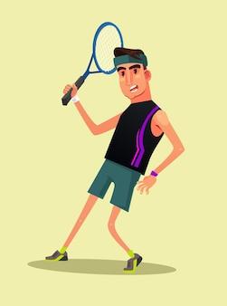 Szczęśliwy uśmiechnięty mężczyzna postać gracza grać w tenisa płaska ilustracja kreskówka