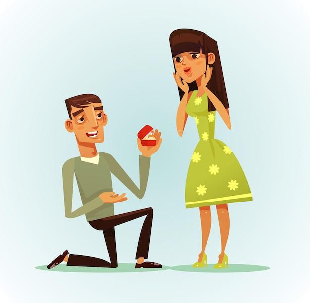 Szczęśliwy uśmiechnięty mężczyzna postać proponująca kobietę za żonę